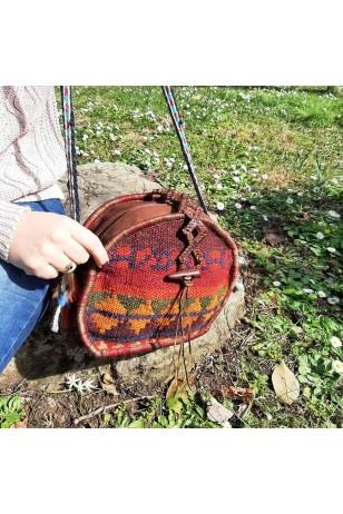 Anadolu kilim yuvarlak çanta
